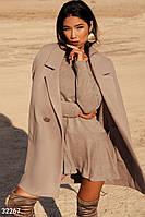 Стильное бежевое пальто свободного кроя S-M,L-XL