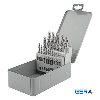 Набір свердл (1-10 мм з кроком 0.5 мм + 3,3/4,2/6,8/10,2) DIN 338 HSS-G 24-ч. GSR Німеччина