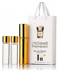 Подарочный набор Yves Saint Laurent L'hommel edt 3X15 ml, мужская туалетная вода!