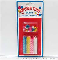 """Набор свечей для торта """"Peppermint stripe"""" 24шт."""