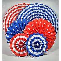 """Набор бумажных подвесный вееров (6шт) (светло-сине-красные)  """"Red & Blue"""" (6 шт.) в амриканском стиле"""