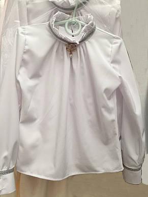 Нарядная школьная детская блуза из коттона р.122-146, фото 2