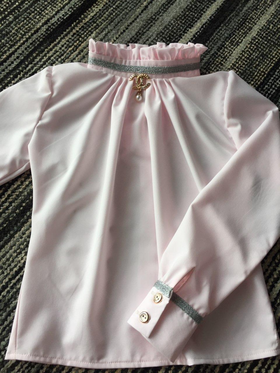 Нарядная школьная детская блуза из коттона р.122-146