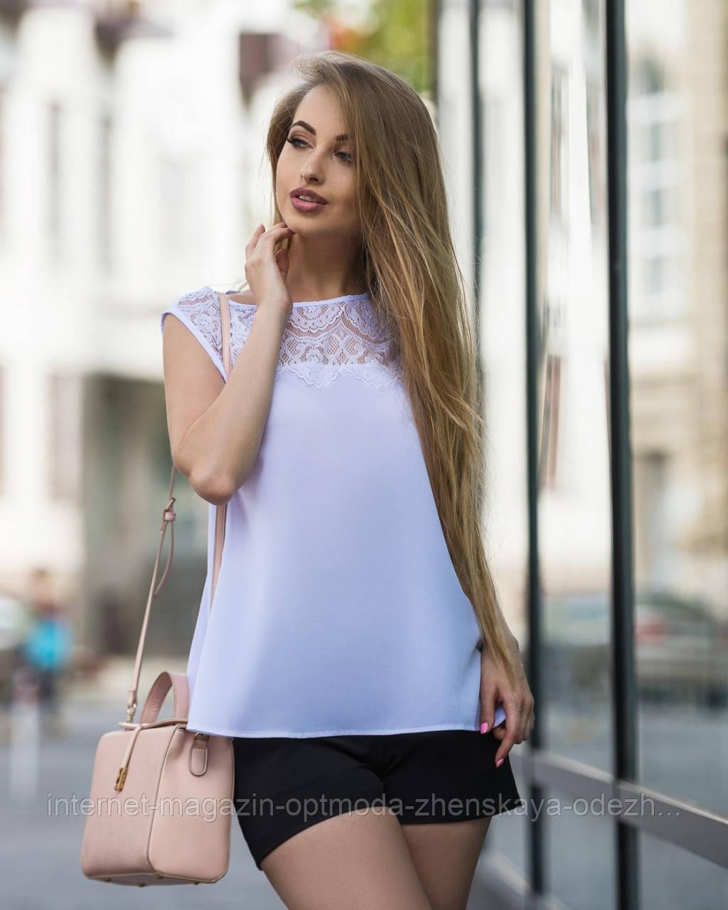 "Комбинированная блузка без рукава ""Валерия"""