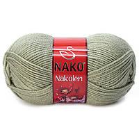 Пряжа Nako Nakolen 5054 лавровый лист (нитки для вязания Нако Наколен) полушерсть 49% шерсть, 51% акрил