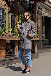 Стильный женский серый пиджак-кардиган