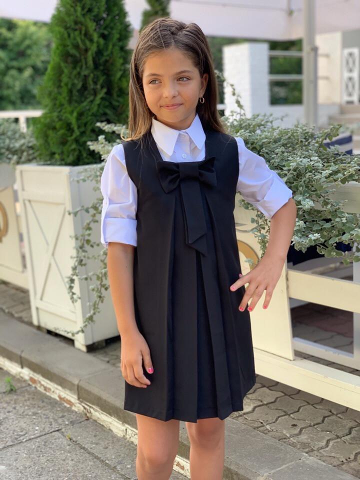 Сарафан школьный с бантом для девочки 128-146