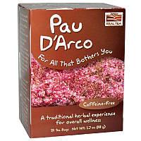 """Чай из коры муравьиного дерева NOW Foods, Real Tea """"Pau D'Arco"""" без кофеина, 24 пакетика (48 г)"""