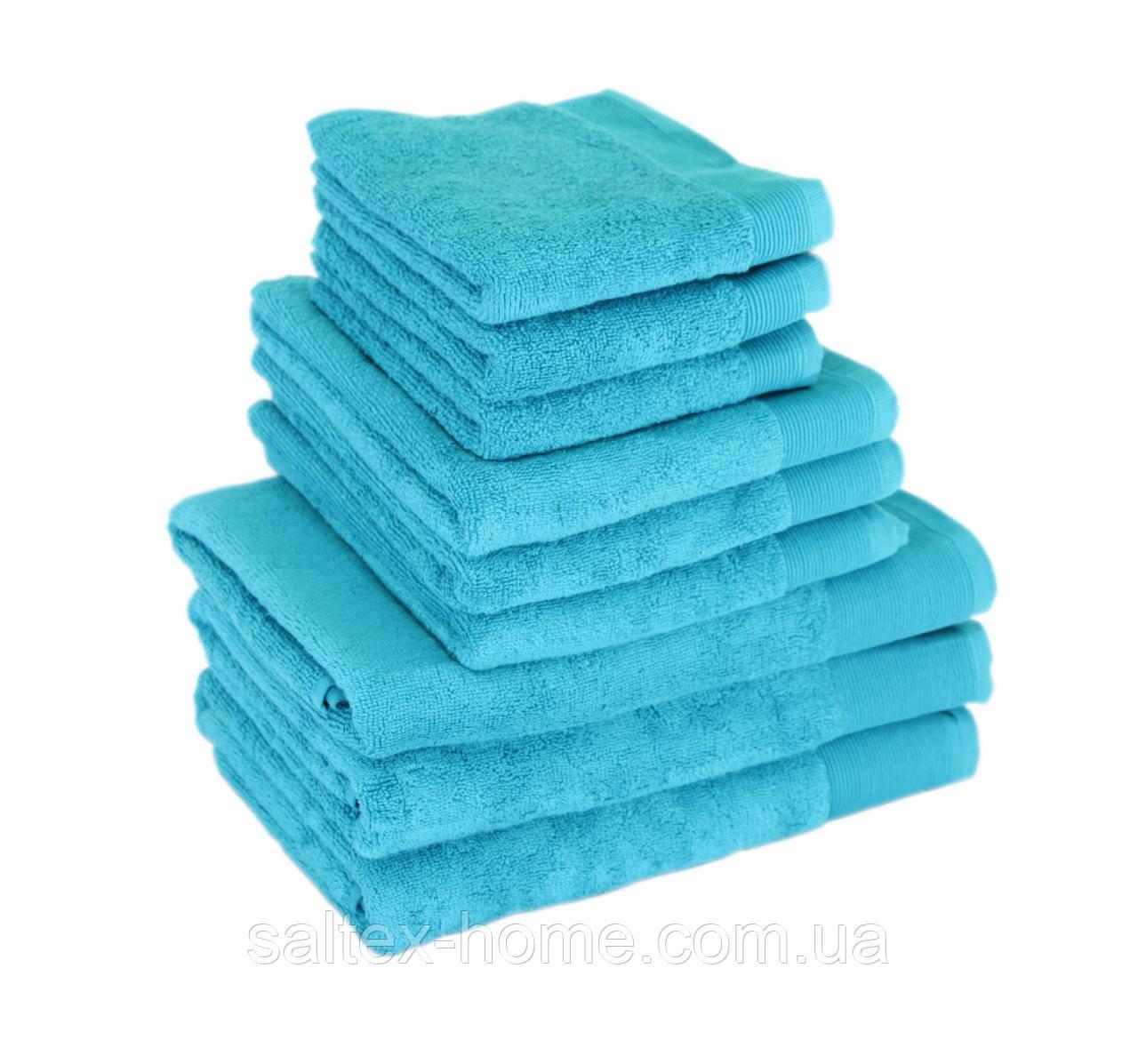 Махровое полотенце для волос 50х90см, Индия, 500 г/м, голубого цвета