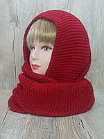 Женский вязаный шарф-снуд. Цвет - красный.