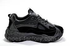 Женские кроссовки на высокой подошве, Осенние (Черные), фото 3