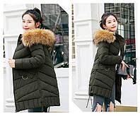 Модная куртка пуховик средней длинны молодежный стиль зеленый
