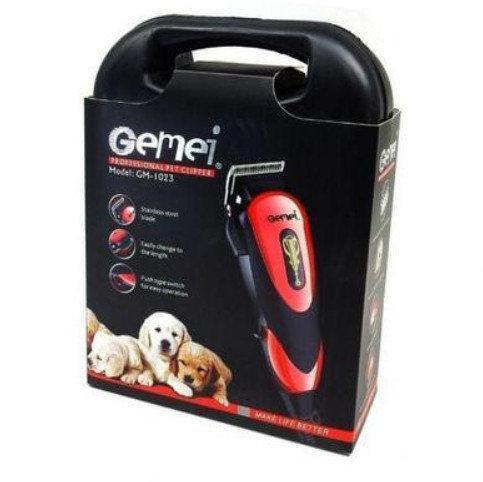Профессиональная машинка для стрижки животных Gemei GM 1023, машинка для груминга + насадки
