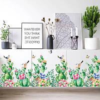 """Наклейка на стену, виниловые наклейки на витрину магазина """"цветущие кактусы"""" 65см*103см (лист60см*90см)"""
