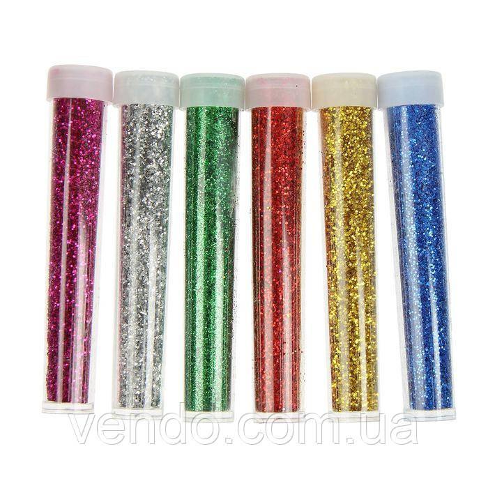 Блестки/ Глиттер универсальные  рассыпчатые туба 35 грамм, набор 6 цветов