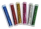 Блестки/ Глиттер универсальные  рассыпчатые туба 35 грамм, набор 6 цветов, фото 2