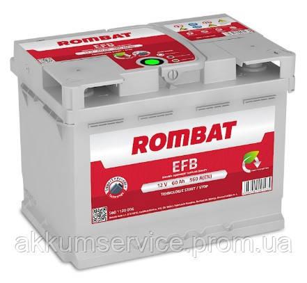 Аккумулятор автомобильный ROMBAT EFB 60AH R+ 560A (F260)