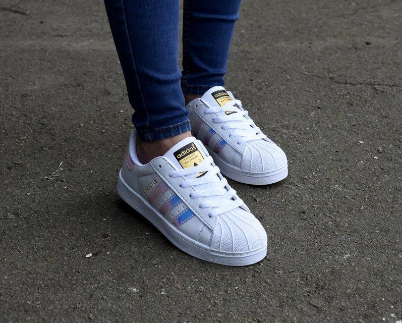 Модные женские кроссовки Adidas superstar hologram, кроссовки женские Адидас суперстар голограмма