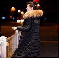Удлиненная куртка пуховик пальто вышивка черный