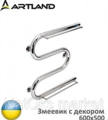 Водяной полотенцесушитель ARTLAND Змеевик с декором 600x500 D32 (с боковым подводом). Украина.