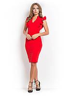 Платье офисное с рюшами ЭСТЭЛЬ красное