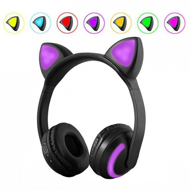 Беспроводные Bluetooth Наушники Cat Ear ZW-19 LED со светящимися кошачьими ушками 7 цветов