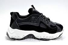 Женские кроссовки на танкетке, черные с белым, фото 3