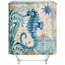 Занавеска-шторка в ванную «Морской конёк» 170×180 см