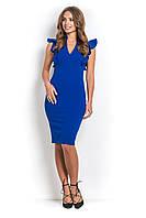 Платье офисное с рюшами ЭСТЭЛЬ синее