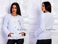"""П9008 Куртка демисезонная """"Шанель""""  Белый"""