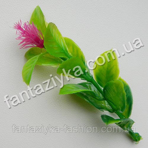 Пластиковая веточка клевера с цветком 9см