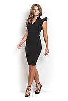 Платье офисное с рюшами ЭСТЭЛЬ черное