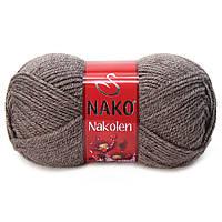 Пряжа Nako Nakolen 5667 темная норка  (нитки для вязания Нако Наколен) полушерсть 49% шерсть, 51% акрил