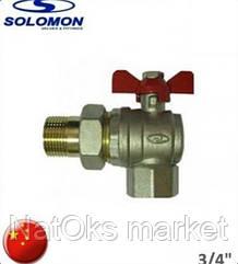 Кран шаровый с американкой угловой SOLOMON 3/4. Китай.