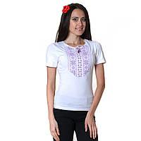 Женская вышитая футболка. Мережка сиреневая