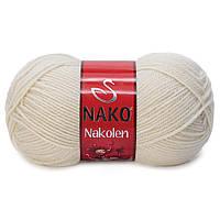 Пряжа Nako Nakolen 6383 грибной (нитки для вязания Нако Наколен) полушерсть 49% шерсть, 51% акрил