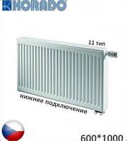 Стальной радиатор KORADO 11 VK 600x1000 (нижнее подключение, 1231 Вт). Чехия.
