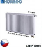 Стальной радиатор KORADO 33 VK 600x1000 (нижнее подключение, 3161 Вт). Чехия
