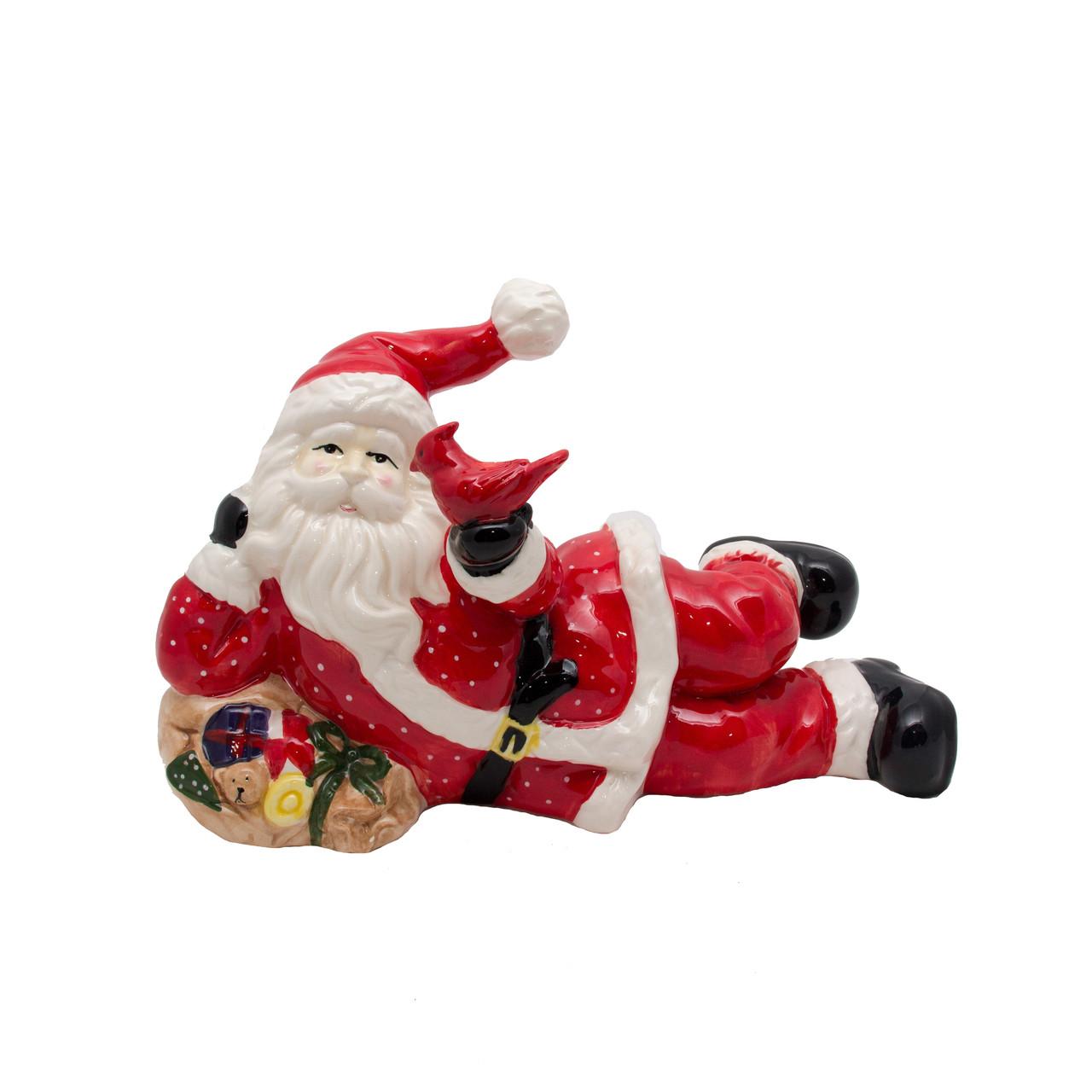 Новогодняя сувенирная фигурка Дед мороз с Елкой лежачий, (440122)
