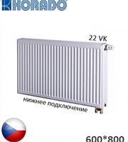 Стальной радиатор KORADO 22 VK 600x800 (нижнее подключение, 1343 Вт). Чехия.