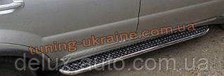 Боковые пороги площадки труба с листом на Audi Q7