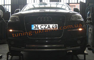 Защита переднего бампера труба двойная на Audi Q7