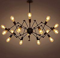 Люстра-паук лофт 761ZD016-16 BK, 16 ламп, черный металл, фото 1