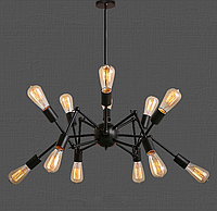 Люстра-паук лофт 761ZD012-12 BK, 12 ламп, черный металл, фото 1