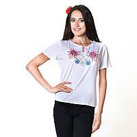 Женская вышитая футболка. Пион, фото 1