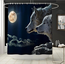 Занавеска-шторка для душа «Ночные волки» 180×180 см