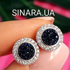 Серебряные серьги гвоздики с кристаллами - Серьги вкрутки серебряные с синим камнем диам. 11 мм
