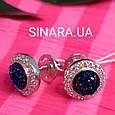 Серебряные серьги гвоздики с кристаллами - Серьги вкрутки серебряные с синим камнем диам. 11 мм, фото 3