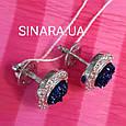 Серебряные серьги гвоздики с кристаллами - Серьги вкрутки серебряные с синим камнем диам. 11 мм, фото 5