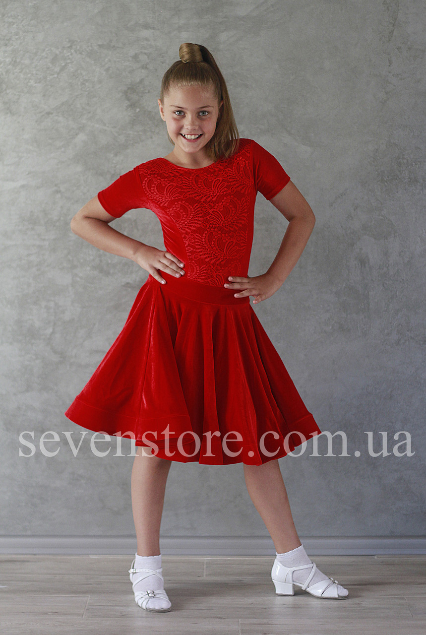 Рейтинговое платье Бейсик для бальных танцев Sevenstore 9139 Красное